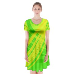 Abstract Green Yellow Background Short Sleeve V-neck Flare Dress