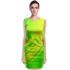 Abstract Green Yellow Background Classic Sleeveless Midi Dress