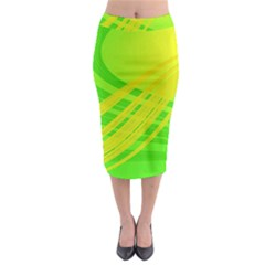 Abstract Green Yellow Background Midi Pencil Skirt