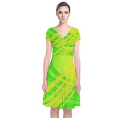 Abstract Green Yellow Background Short Sleeve Front Wrap Dress