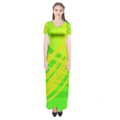 Abstract Green Yellow Background Short Sleeve Maxi Dress