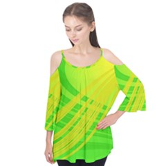 Abstract Green Yellow Background Flutter Tees