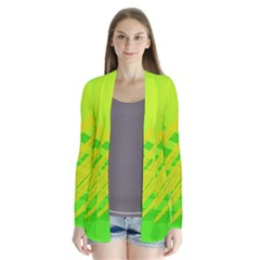Abstract Green Yellow Background Cardigans