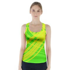 Abstract Green Yellow Background Racer Back Sports Top
