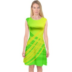 Abstract Green Yellow Background Capsleeve Midi Dress