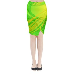 Abstract Green Yellow Background Midi Wrap Pencil Skirt
