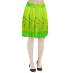 Abstract Green Yellow Background Pleated Skirt