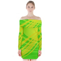 Abstract Green Yellow Background Long Sleeve Off Shoulder Dress