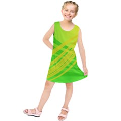 Abstract Green Yellow Background Kids  Tunic Dress