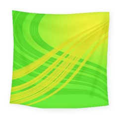 Abstract Green Yellow Background Square Tapestry (large)