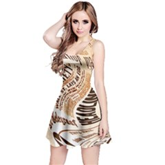Abstract Newspaper Background Reversible Sleeveless Dress