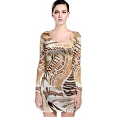 Abstract Newspaper Background Long Sleeve Bodycon Dress