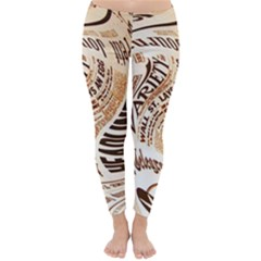 Abstract Newspaper Background Classic Winter Leggings