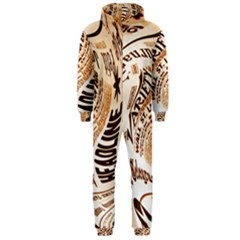 Abstract Newspaper Background Hooded Jumpsuit (Men)