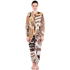 Abstract Newspaper Background Onepiece Jumpsuit (ladies)