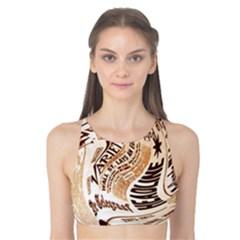 Abstract Newspaper Background Tank Bikini Top