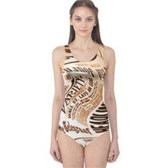 Abstract Newspaper Background One Piece Swimsuit