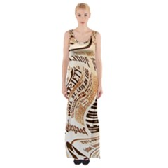 Abstract Newspaper Background Maxi Thigh Split Dress