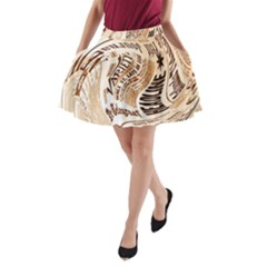 Abstract Newspaper Background A-Line Pocket Skirt