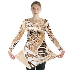 Abstract Newspaper Background Long Sleeve Tunic