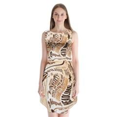 Abstract Newspaper Background Sleeveless Chiffon Dress
