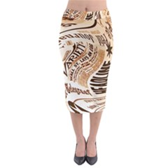 Abstract Newspaper Background Midi Pencil Skirt