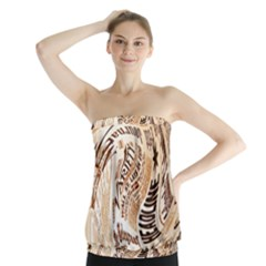 Abstract Newspaper Background Strapless Top