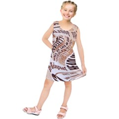 Abstract Newspaper Background Kids  Tunic Dress