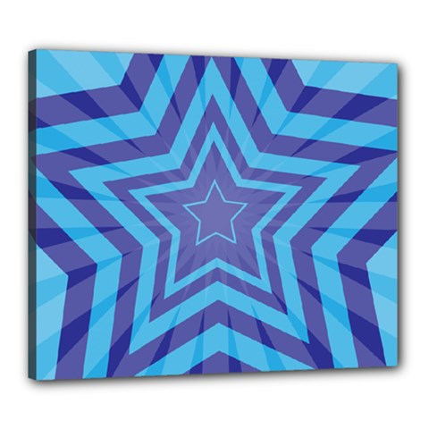 Abstract Starburst Blue Star Canvas 24  X 20