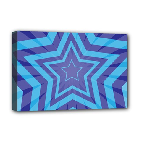 Abstract Starburst Blue Star Deluxe Canvas 18  X 12