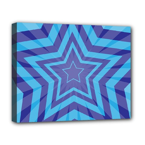 Abstract Starburst Blue Star Deluxe Canvas 20  X 16