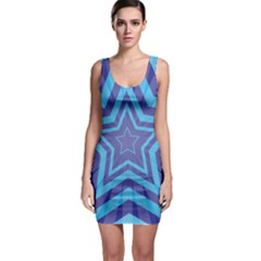 Abstract Starburst Blue Star Sleeveless Bodycon Dress