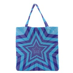 Abstract Starburst Blue Star Grocery Tote Bag
