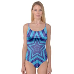 Abstract Starburst Blue Star Camisole Leotard