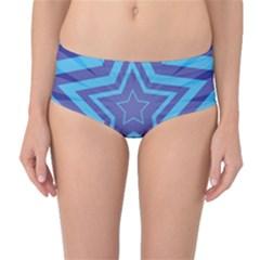 Abstract Starburst Blue Star Mid Waist Bikini Bottoms