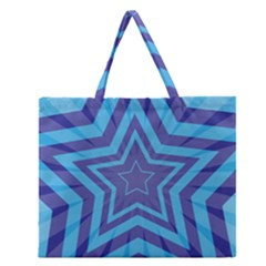 Abstract Starburst Blue Star Zipper Large Tote Bag