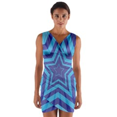 Abstract Starburst Blue Star Wrap Front Bodycon Dress