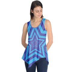Abstract Starburst Blue Star Sleeveless Tunic