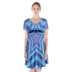 Abstract Starburst Blue Star Short Sleeve V-neck Flare Dress