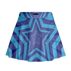 Abstract Starburst Blue Star Mini Flare Skirt