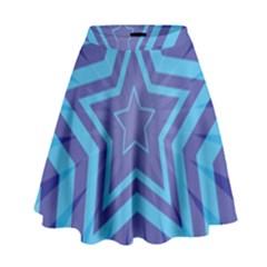 Abstract Starburst Blue Star High Waist Skirt