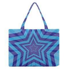 Abstract Starburst Blue Star Medium Zipper Tote Bag