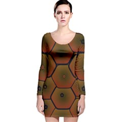 Art Psychedelic Pattern Long Sleeve Velvet Bodycon Dress