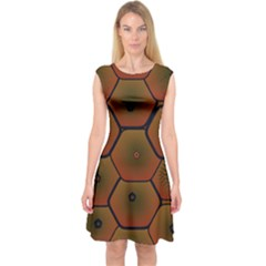 Art Psychedelic Pattern Capsleeve Midi Dress
