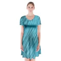 Banner Header Short Sleeve V Neck Flare Dress