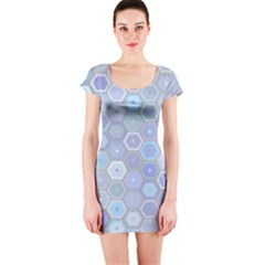 Bee Hive Background Short Sleeve Bodycon Dress