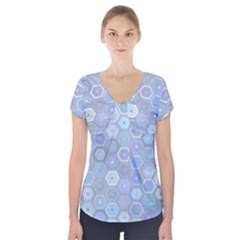Bee Hive Background Short Sleeve Front Detail Top