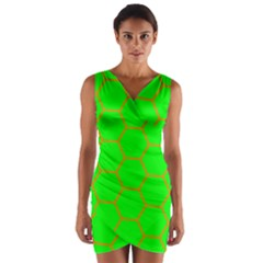 Bee Hive Texture Wrap Front Bodycon Dress