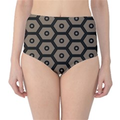 Black Bee Hive Texture High Waist Bikini Bottoms