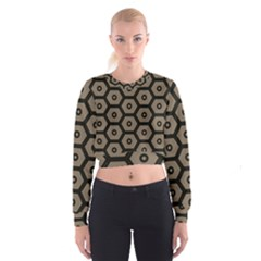 Black Bee Hive Texture Women s Cropped Sweatshirt